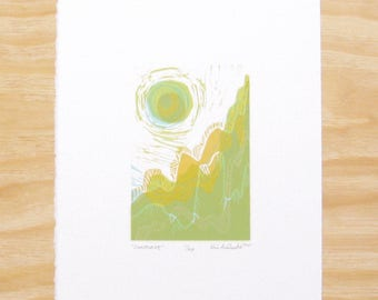 "Woodblock Print - ""Sunscape"" - Landscape with Sun - Printmaking"