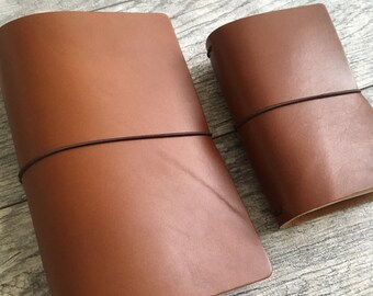 Personalized Leather Traveler Notebook Cover, Leather Fauxdori