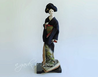 Antique Japanese Geisha doll with silk kimono lacquer stand exquisite details gofun face collectible 19th century