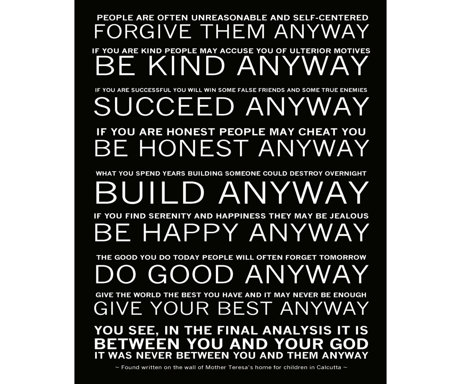 Mother Teresa Quotes Love Them Anyway Mother Teresa's Do It Anyway Poem Ready To Hang Canvas