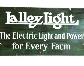 Antique Lalley Electricity for Every Farm Double Sided Porcelain Sign