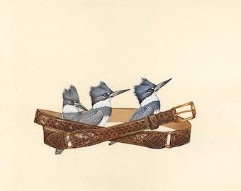 Belted kingfishers. Original collage by Vivienne Strauss.
