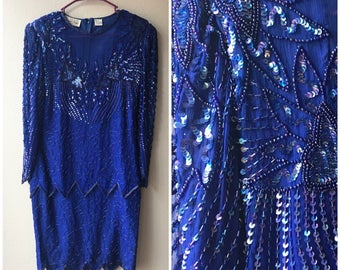 Blue and iridescent sequin vintage dress