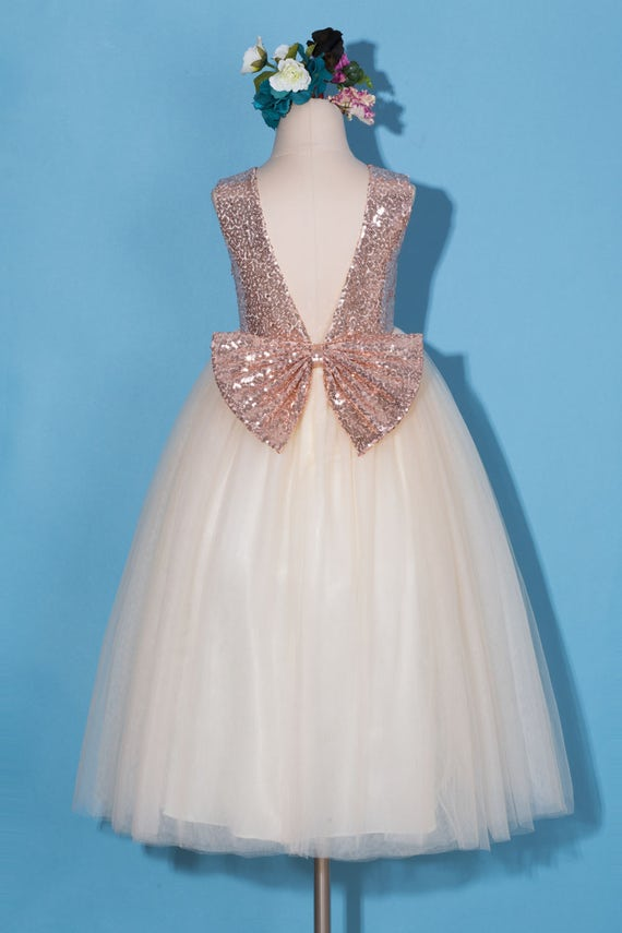 Flower Girl Dress Rose Gold Sequin Flower Girl Dress Rose