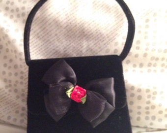 Vintage 90s black velvet bow red rosette formal dressy purse