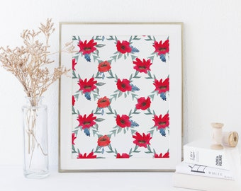 Poppy Art Poster, Watercolor Poppies, Red Poppy Print, Wildflower Wall Art, Kitchen Printable, Boho Decor, Bohemian Nursery Wall Artwork