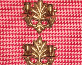 Brass Candleholders; Pair of Brass Candle Sconces Candleholders