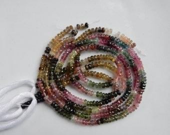 3.5mm  Gorgeous, faceted tourmaline rondelle, full strand (13.5 inches), multicolor tourmaline