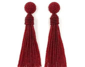Oscar de la Renta earrings, beaded long tassel stud/clip earrings, Oscar earrings, red earrings, dangle earrings, beaded tassel earrings,