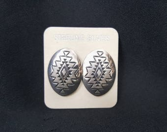 Vintage Hopi Native American post earrings - sterling silver