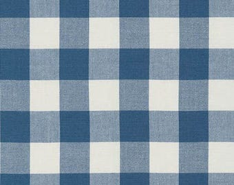 1 Inch Plaid - Carolina Gingham in Denim Blue by Robert Kaufman - 1/2 yard increments