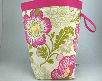 Pink Floral - Knitting, Crochet or Fiber-work Project Bag