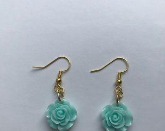 Pastel Aqua Flower Earrings, Gold earrings, Dangle Earrings