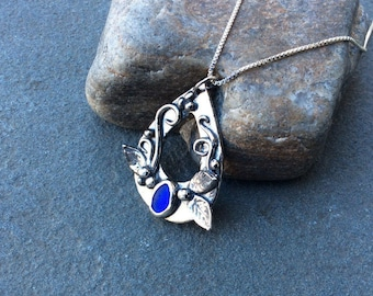 Sea glass jewelry,  Bezel set cobalt blue sea glass and hand formed fine silver precious metal clay necklace