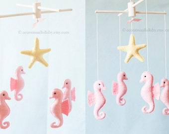 Pink Seahorse Starfish Baby Mobile, Baby Girl Nursery Decor, Baby Girl Mobile, Pink Nursery, Ocean Mobile, Ocean Nursery Sea Animals Mobile
