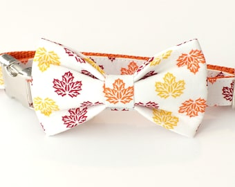 Autumn Leaves Dog Collar Bow Tie set with metal hardware, pet bow tie, collar bow tie, wedding bow tie, pet photography