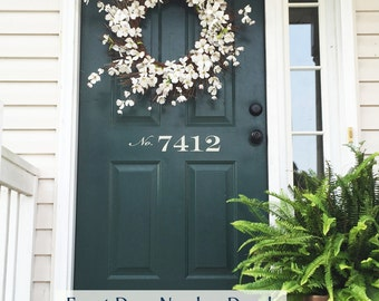 Front Door Number Decal • Street Number for Front Door Adds Curb Appeal - House Address Number Front Door Decal Spring Decor Made in USA