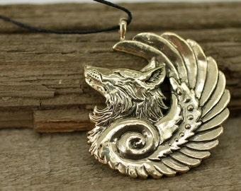 Winged fox wolf coyote bronze pendant necklace