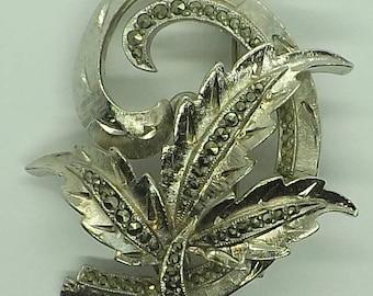 Vintage Marcasite Silver Leaf Brooch