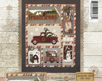 PATTERN:  Bringing Home the Tree - #BMB1359 - by Buttermilk Basin Design Co. - Wool & Cotton Quilt - Snowmen - Trucks - Barn - Christmas