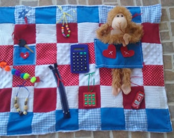 Activity Blanket, Fidget Blanket, Sensory Quilt, Dementia Therapy, Alzheimers Therapy, Autism, Stroke Therapy, Brain Trauma, Quilts
