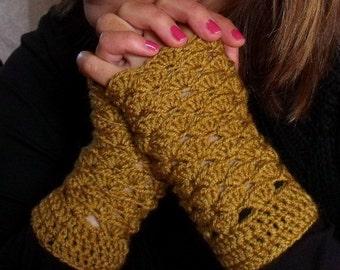 Light Brown Fingerless Gloves PDF Crochet Pattern