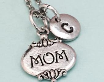Mom necklace, mom charm, parent necklace, personalized necklace, initial necklace, initial charm, monogram