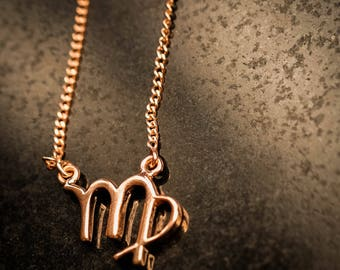 Rose Gold Over Sterling Silver Zodiac Necklace - Virgo