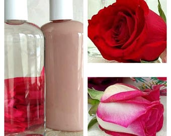 Just Rosey Floral Shampoo & Conditioner- Rose Otto, Natural Scents, Rose Water, Moisturizing, Hair Booster, Silk Amino Acids, ProVitamin B5,