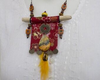 "Necklace zen Japanese fabric "" Natsumi """
