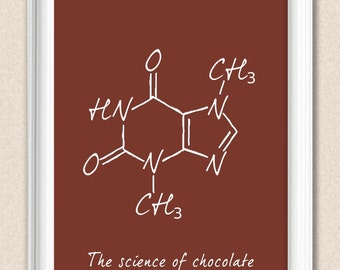 Personalised Chocolate Art Chocolate Theobromine Science Print - Molecular Structure of Chocolate A008