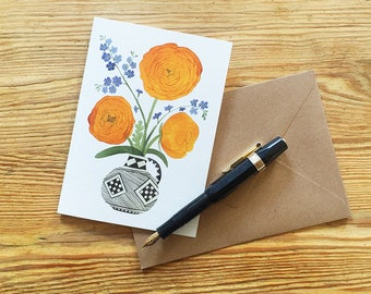 Greetings Card, 'Ranunculi, Forget-Me-Nots'