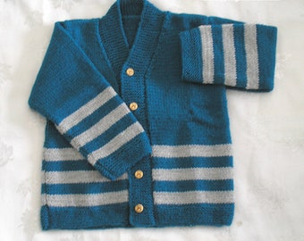Child's teal and gray wool vest size 2 to 3 years