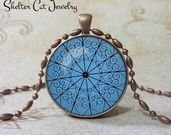 "Gazebo Scrollwork Necklace - Print based on an Original Photo - 1-1/4"" Round Pendant or Key Ring - Handmade Wearable Photo Art Jewelry"