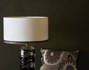 Black swirl glass table lamp base ( shade example only)