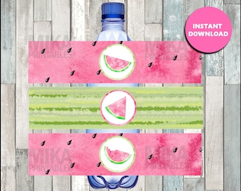 Watermelon water labels instant download , Watermelon water bottle labels, Printable Watermelon party water