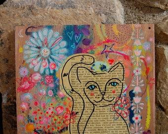 Garden Kitty / Mixed Media Painting