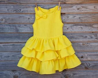 Linen Ruffle Dress, Flower Girl, Rustic Wedding, Tiered Skirt, Yellow Linen, Round Neck, Country Dress, Handmade, Custom Sizes