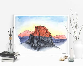 Half Dome at Sunset Watercolor painting