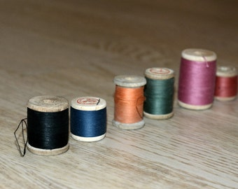 Vintage Retro Wooden Thread Spools Set of 6 Different colors Soviet Union Cotton Sewing Threads