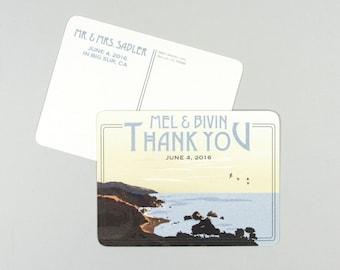 Big Sur California Cliffs Beach Wedding Thank You Postcards // Vintage Illustrated Wedding Thank You Notes