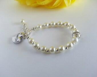 Ivory Flower Girl Bracelet, Flower Girl Gift, Pearl Flower Girl Bracelet, Flower Girl Keepsake, Flower Girl Present, Flower Girl Accessories