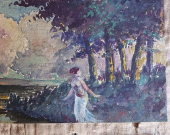 1925 French antique watercolour, Art Deco painting, 1920 French painter, Great Gatsby, Brideshead Revisited, paper,