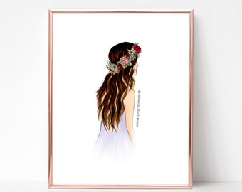 Flora crown boho chic, fashion illustration print, art print, sketch, croquis,