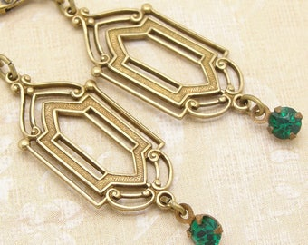 Art Deco Earrings in a Downton Abbey Style with Green Rhinestones