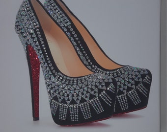 Unique Glitter Louboutins Shoe Canvas Print, Wall Art. Any Size !!