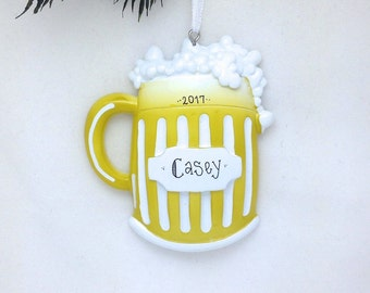 Beer Mug Personalized Christmas Ornament / Beer Lover / Hand Personalized with a Name or Message