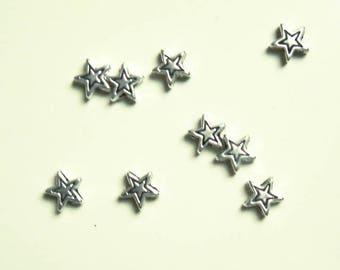 10 Star beads - Tibetan silver