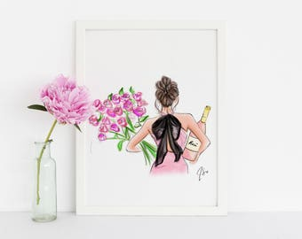 Roses or Rosé (Fashion Illustration Print) (Fashion Illustration Art - Fashion Sketch prints - Home Decor - Wall Decor )