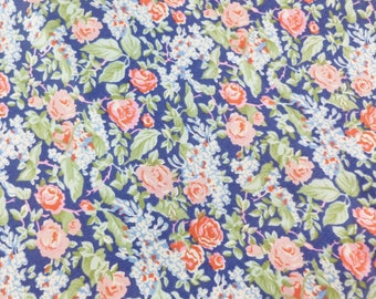 Liberty of London Cotton Fabric 2 Yards Destash Yardage Navy Blue, Pink and Green Floral